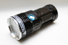 Five-emitter high-flux 455nm crime scene blue flashlight with selectable neutral white mode