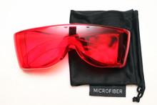 Red premium wraparound viewing glasss