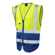 Leo Lynton Superior Two-Tone Hi-Vis Vest - Yellow/Royal Blue (W11-Y/RB)