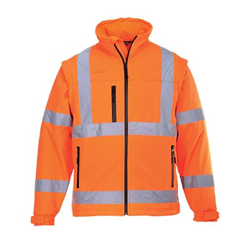 Hi-Vis Softshell Jacket with Zip-Off Sleeves GO/RT (S428 OR)