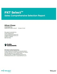PXT Select Sales: Comprehensive Selection Report from Profile Assessments