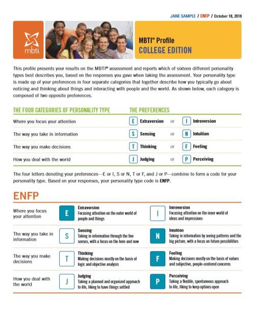 MBTI® Profile Report, College Edition (Step I)