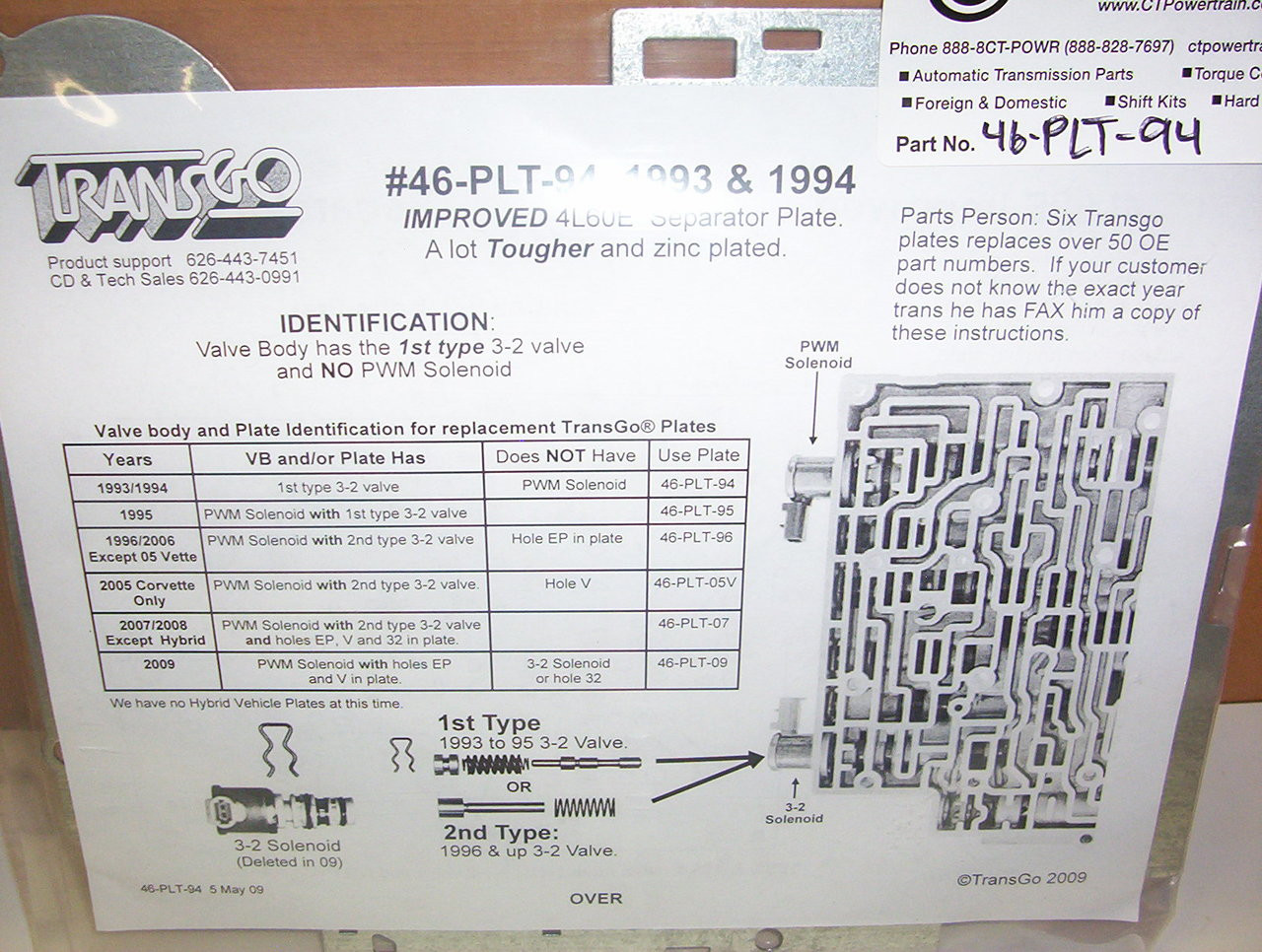New TransGo 46-PLT-94 4L60E Valve Body Plate 1993-1994 Heavy Duty