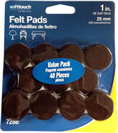 "Waxman 1"" Brown Value Pack Heavy Duty Felt Pads"