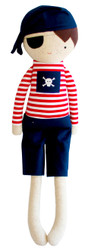 Linen Pirate Boy 50cm Navy & Red