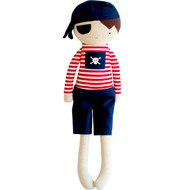 Small Pirate Boy Doll Rattle 30cm Navy Red
