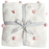 Pom Pom Blanket Pink - 120cm x 60cm