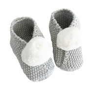 Baby Pom Pom Slippers - Grey (3-6mths)