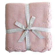 Knit Mini Moss Stitch Organic Cotton Baby Blanket - Pink