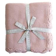 Knit Mini Moss Stitch Organic Cotton Baby Blanket - Pink