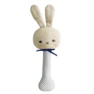 Baby Bunny Stick Rattle Navy Spot