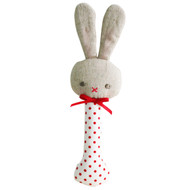 Baby Bunny Stick Rattle Red Spot