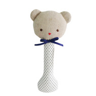 Baby Bear Stick Rattle Navy Spot