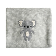 Organic Cotton Koala Baby Blanket - Grey