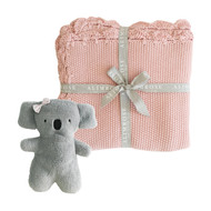 Organic Little Koala Blanket Set - Pink