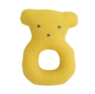 Linen Bear Ring Rattle 10cm Butterscotch