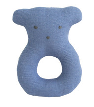 Linen Bear Ring Rattle 10cm Chambray