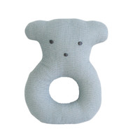 Linen Bear Ring Rattle 10cm Grey