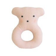 Linen Bear Ring Rattle 10cm Pink