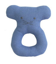 Linen Mouse Ring Rattle 10cm Chambray