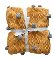 Pom Pom Blanket Butterscotch & Grey