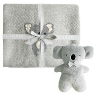 Organic Koala Baby Blanket Set Grey