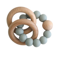 Natural Beechwood & Silicone Teether - Sage