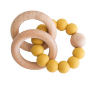 Natural Beechwood & Silicone Teether - Butterscotch