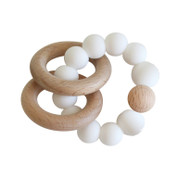 Natural Beechwood & Silicone Teether - Milk
