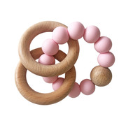 Natural Beechwood & Silicone Teether - Rosewater