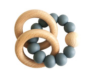 Natural Beechwood & Silicone Teether - Storm Grey