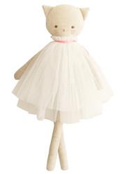 Aurelie Linen Cat Doll 48cm Ivory