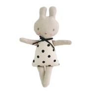 Linen Bonnie Bunny Rattle 19cm Black Spot
