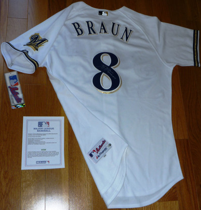 RYAN BRAUN AUTOGRAPHED 2011 NL MVP INSCRIBED SIGNED MAJESTIC MILWAUKEE BREWERS AUTHENTIC #8 JERSEY w Tag plus MLB Numbered Hologram