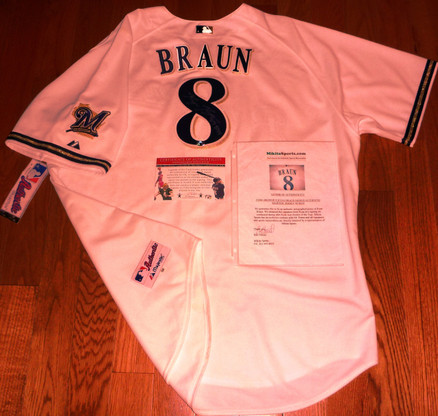 RYAN BRAUN ROY 07 AUTOGRAPHED MAJESTIC MILWAUKEE BREWERS AUTHENTIC JERSEY COA