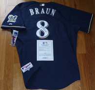 "Ryan Braun hand-signed National League MVP  ""2011 NL MVP"" Inscribed  Milwaukee Brewers #8 Blue  Authentic Majestic Jersey  with Major League Baseball  MLB numbered hologram  w printed COA!   This Size 52 jersey is autographed by Ryan in black permanent ink!"