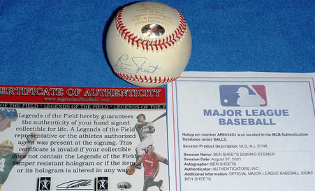 MILWAUKEE BREWERS BEN SHEETS AUTOGRAPHED USA GOLD MEDAL LE LIMITED EDITION ENGRAVED MLB BASEBALL COA