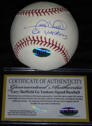 NY YANKEE GARY SHEFFIELD GO YANKEES AUTOGRAPHED MLB OML BASEBALL SHEFF ELITE COA