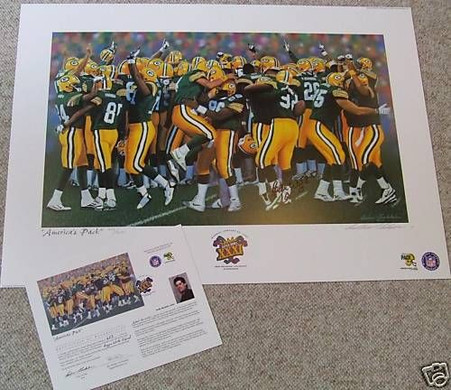 REGGIE WHITE AUTOGRAPHED AUTO GREEN BAY PACKERS SB SUPER BOWL 31 XXXI Artist Andy Goralski signed LITHOGRAPH COA