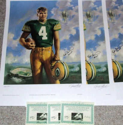 BRETT FAVRE AUTOGRAPHED RARE MVP INSCRIPTION LE SIGNED ART GREEN BAY PACKERS LITHOGRAPH COA ARTIST GEORGE POLLARD