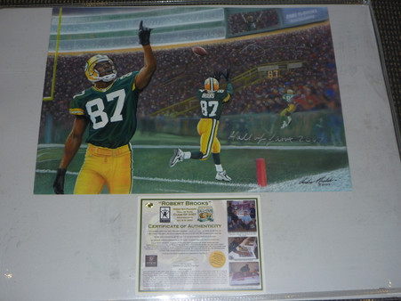 GREEN BAY PACKERS ROBERT BROOKS HOF 07 AUTOGRAPHED PAINTING ANDY GORALSKI SIGNED
