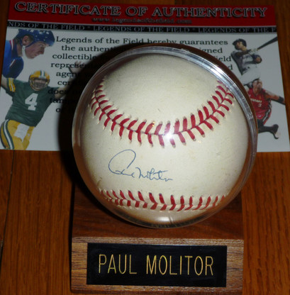 Paul Molitor hand-signed Official Bobby Brown American League Baseball  Legends of the Field hologram & COA  plus wood base Paul Molitor plate acrylic Case!