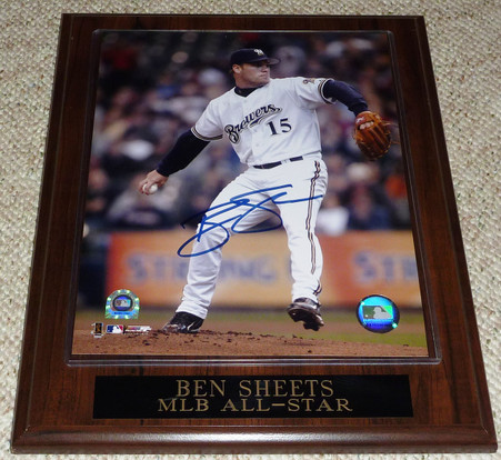Ben Sheets hand-signed  MLB All-Star  8x10 photo plaque  with Major League Baseball   MLB online Numbered Hologram  and  Authentic Jeff's Sports COA!