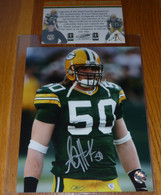 RARE!    A.J. Hawk 50 Signed Rookie 8x10 photo with Legends of the Field AJ Hawk COA &   exclusive AJ Hologram Authentication. Includes toploader.