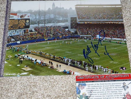 BRETT FAVRE hand-signed  4 inscribed   Extremely Hard-to-Find   Game winning dive into the endzone  at the last game at County Stadium  11x14 photo  with Official Legends of the Field Authentication  with Top loader.
