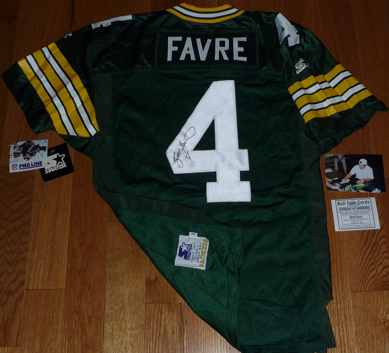 low priced 582f5 12498 GREEN BAY PACKERS BRETT FAVRE SIGNED 1994 75th Anniversary Patch STARTER  PRO LINE AUTHENTIC JERSEY Ball Four COA with Signing photo