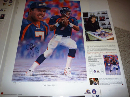 "DENVER BRONCOS JOHN ELWAY 7 SIGNED Autographed Limited Edition 4 of only 4 C/E ""THE FINAL DRIVE"" Artist Andy GORALSKI Lithograph with COA & Signing photo"