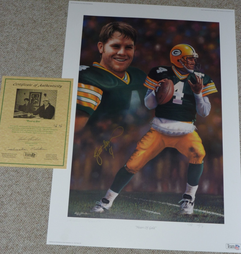 hot sales 83f0e dab93 GREEN BAY PACKERS BRETT FAVRE 4 AUTOGRAPHED SIGNED HEART OF GOLD LIMITED  EDITION GORALSKI LITHOGRAPH COA LE 2 of only 9 Conservation Edition