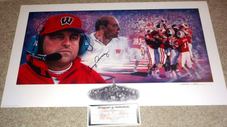 WISCONSIN BADGERS BARRY ALVAREZ AUTOGRAPHED SIGNED LOOKING BACK LIMITED EDITION 17 of ONLY 100 AP Artist Proof Andy GORALSKI LITHOGRAPH COA