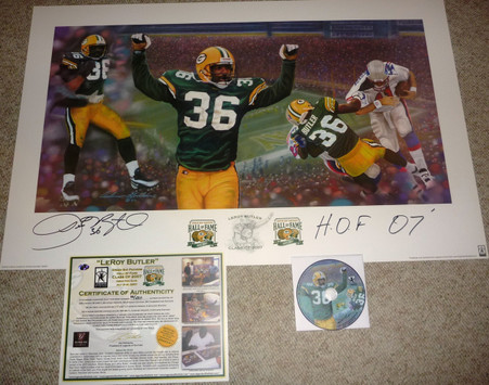 GREEN BAY PACKERS LeRoy Butler 36 AUTOGRAPHED HOF 07SIGNED Packer Hall of Fame 2007 LIMITED EDITION 66 of ONLY 250 Artist Andy GORALSKI LITHOGRAPH COA